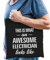 Awesome electrician loodgieter cadeau tas zwart voor heren