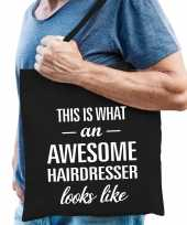 Awesome hairdresser kapper cadeau tas zwart voor heren