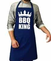 Bbq king barbeque schort keukenschort kobalt blauw voor heren