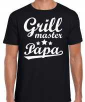 Grill master papa bbq barbecue cadeau t-shirt zwart voor heren