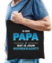 Ik ben papa wat is jouw superkracht tasje zwart voor heren vaderdag cadeau tas papa