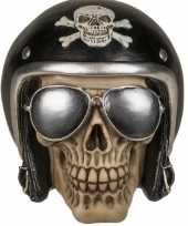 Spaarpot motor bikers skull 16 x 13 cm