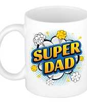 Super dad cadeau mok beker wit pop art stijl 300 ml