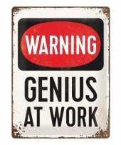 Warning genius at work magneet