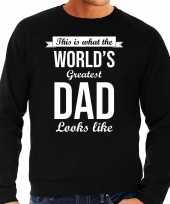 Worlds greatest dad cadeau sweater zwart voor heren