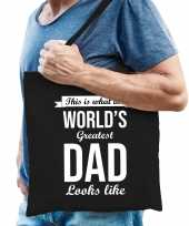 Worlds greatest dad cadeau tas zwart voor heren